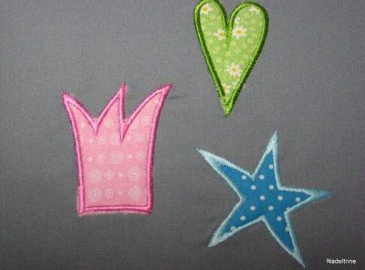 Applikationen Herz, Krone, Stern  in 3 Größen 10x10cm