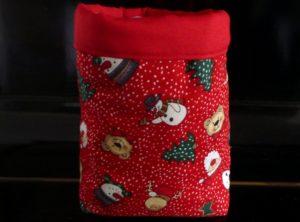Weihnachtliches Stoffkörbchen mit Schneemann (Motivstoff)