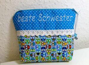 """Schminktäschchen """"beste Schwester"""" (Mini-Eulen) (Kopie)"""